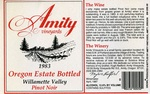 Amity Vineyards 1983 Oregon Estate Bottled Pinot Noir Wine Label