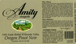 Amity Vineyards 1985 Oregon Pinot Noir Wine Label