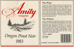 Amity Vineyards 1983 Oregon Pinot Noir Wine Label