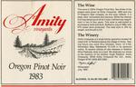 Amity Vineyards 1983 Oregon Pinot Noir Wine Label by Amity Vineyards