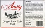 Amity Vineyards 1984 Oregon Pinot Noir Wine Label