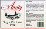 Amity Vineyards 1984 Oregon Pinot Noir Wine Label by Amity Vineyards