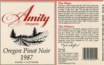Amity Vineyards 1987 Oregon Pinot Noir Wine Label by Amity Vineyards