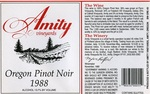 Amity Vineyards 1988 Oregon Pinot Noir Wine Label by Amity Vineyards