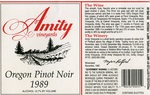 Amity Vineyards 1989 Oregon Pinot Noir Wine Label