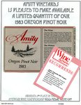 Amity Vineyards 1983 Oregon Pinot Noir Release Announcement
