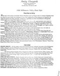 Amity Vineyards 1988 Willamette Valley Pinot Noir Information Sheet by Myron Redford