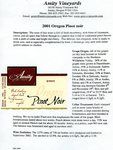 Amity Vineyards 2001 Oregon Pinot Noir Information Sheet by Myron Redford