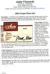 Amity Vineyards 2002 Oregon Pinot Noir Information Sheet by Myron Redford