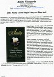 2003 Amity Estate Single Vineyard Pinot Noir Information Sheet by Myron Redford