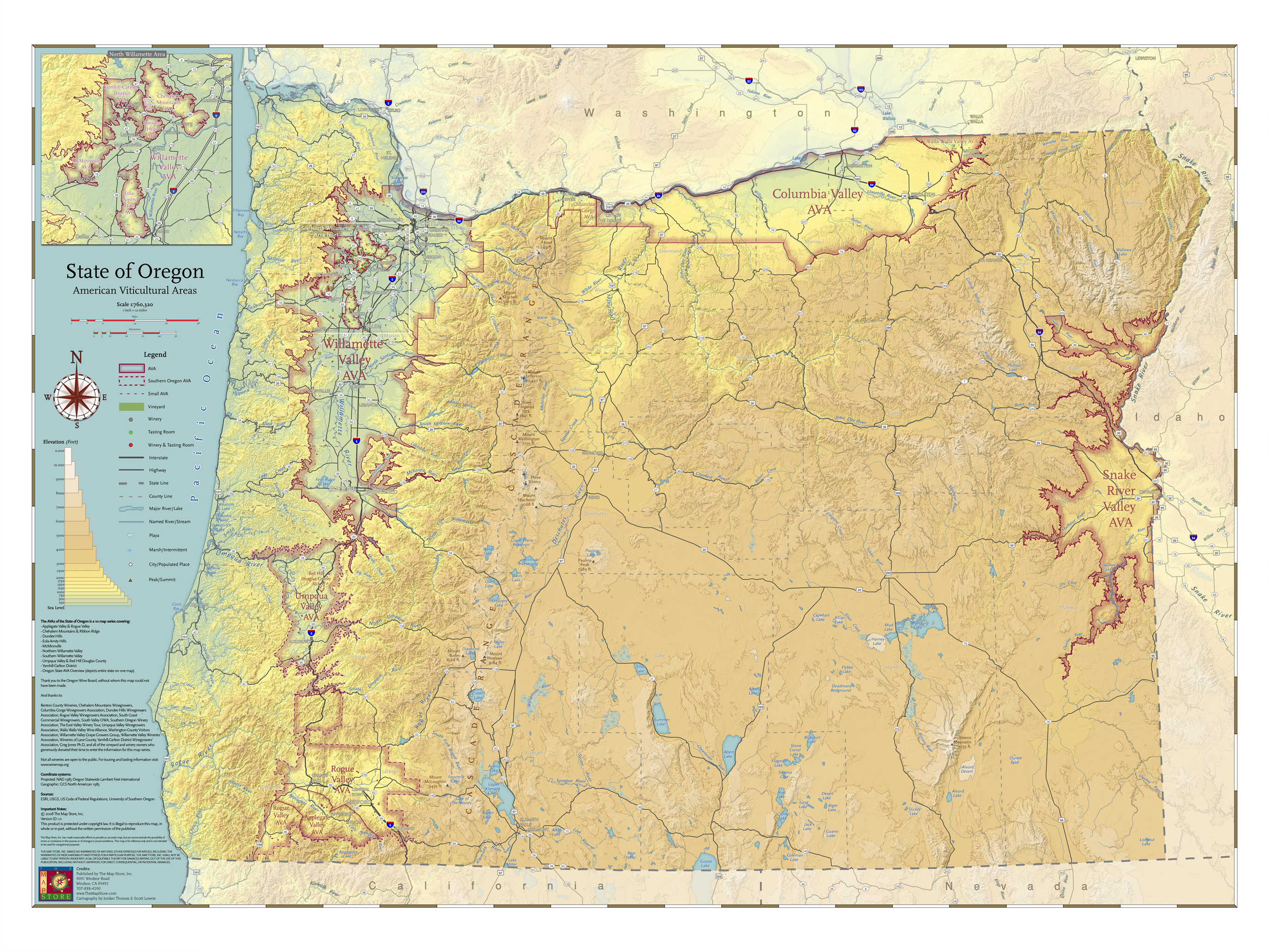 Map Of State Of Oregon American Viticultural Areas By The Maps - Oregon elevation map