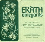 Erath Vineyards Willamette Valley Gewürztraminer Oregon Table Wine Label