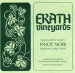 Erath Vineyards Willamette Valley Pinot Noir Oregon Table Wine Label