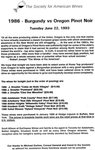 1986 Burgundy vs. Oregon Pinot Noir Information Sheet by Society for American Wines
