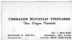 Chehalem Mountain Vineyards Business Card