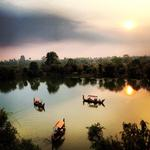 On the Moat at Angkor Wat by Cameron Taie