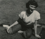 Nursing Student Sitting on Lawn by Unknown