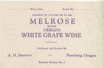 Doerner Vineyards Melrose Oregon White Grape Wine Label by Adolph H. Doerner