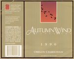 Autumn Wind Vineyard 1990 Yamhill County Oregon Chardonnay Wine Label by Autumn Wind Vineyard