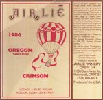 Airlie Winery 1986 Polk County Crimson Wine Label by Airlie Winery
