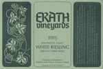 Erath Vineyards 1975 Willamette Valley White Riesling Wine Label
