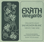 Erath Vineyards Willamette Valley Sauvignon Blanc Wine Label by Erath Vineyards