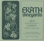 Erath Vineyards 1974 Willamette Valley Gamay Wine Label