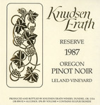 Knudsen Erath Winery 1987 Oregon Pinot Noir (Leland) Wine Label
