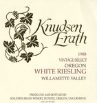 Knudsen Erath Winery 1988 Willamette Valley White Riesling Wine Label