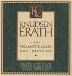 Knudsen Erath Winery 1991 Willamette Valley Dry Riesling Wine Label