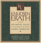 Knudsen Erath Winery 1991 Willamette Valley Chardonnay Wine Label