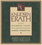 Knudsen Erath Winery 1991 Willamette Valley Chardonnay Wine Label by Knudsen Erath Winery