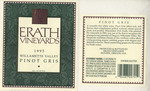 Erath Vineyards 1995 Willamette Valley Pinot Gris Wine Label