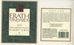 Erath Vineyards 1995 Willamette Valley Pinot Gris Wine Label by Erath Vineyards