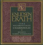 Knudsen Erath Winery 1992 Willamette Valley Chardonnay Wine Label