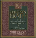 Knudsen Erath Winery 1992 Willamette Valley Chardonnay Wine Label by Knudsen Erath Winery