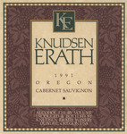 Knudsen Erath Winery 1991 Oregon Cabernet Sauvignon Wine Label