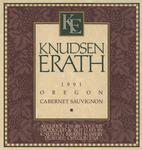 Knudsen Erath Winery 1991 Oregon Cabernet Sauvignon Wine Label by Knudsen Erath Winery