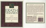 Erath Vineyards 1997 Willamette Valley Cabernet Sauvignon Wine Label by Erath Vineyards