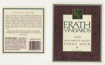 Erath Vineyards 1998 Willamette Valley Pinot Noir Wine Label