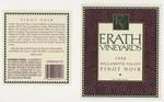 Erath Vineyards 1998 Willamette Valley Pinot Noir Wine Label by Erath Vineyards