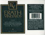 Erath Vineyards 1995 Willamette Valley Gewürztraminer Wine Label by Erath Vineyards