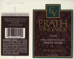 Erath Vineyards 1998 Willamette Valley Vintage Select Pinot Noir Wine Label