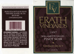 Erath Vineyards 1997 Willamette Valley Vintage Select Pinot Noir Wine Label