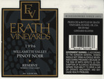 Erath Vineyards 1996 Willamette Valley Pinot Noir Wine Label