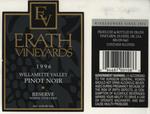 Erath Vineyards 1996 Willamette Valley Pinot Noir Wine Label by Erath Vineyards