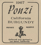 Ponzi Vineyards 1967 California Burgundy Wine Label by Ponzi Vineyards