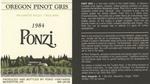 Ponzi Vineyards 1984 Willamette Valley Pinot Gris Wine Label