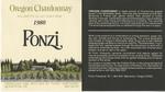 Ponzi Vineyards 1980 Willamette Valley Chardonnay Wine Label
