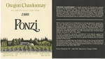 Ponzi Vineyards 1980 Willamette Valley Chardonnay Wine Label by Ponzi Vineyards